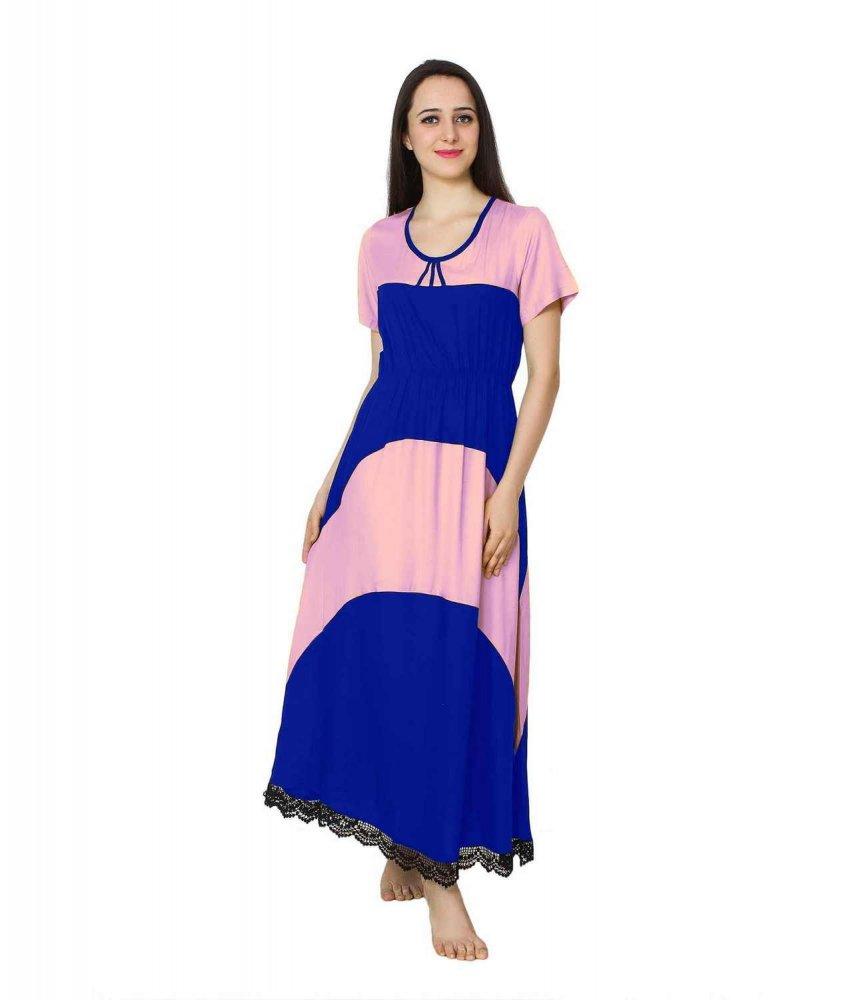 Embellished Hem Color Block Maxi Dress in Baby Pink: Royal Blue