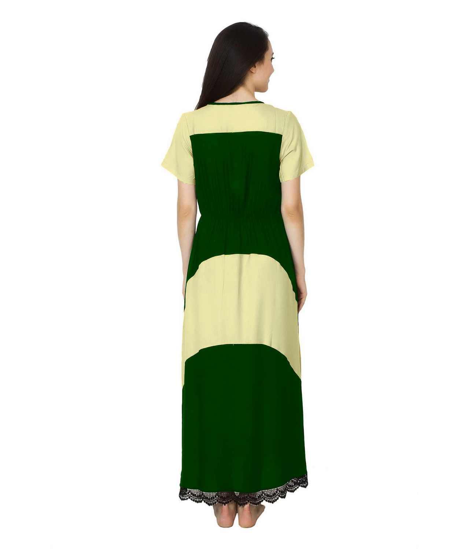 Embellished Hem Color Block Maxi Dress in Cream: Bottle Green