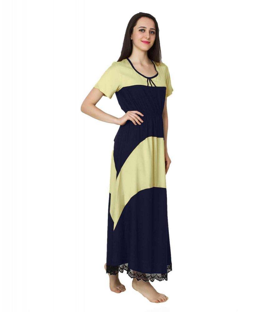 Embellished Hem Color Block Maxi Dress in Cream: Dark Blue