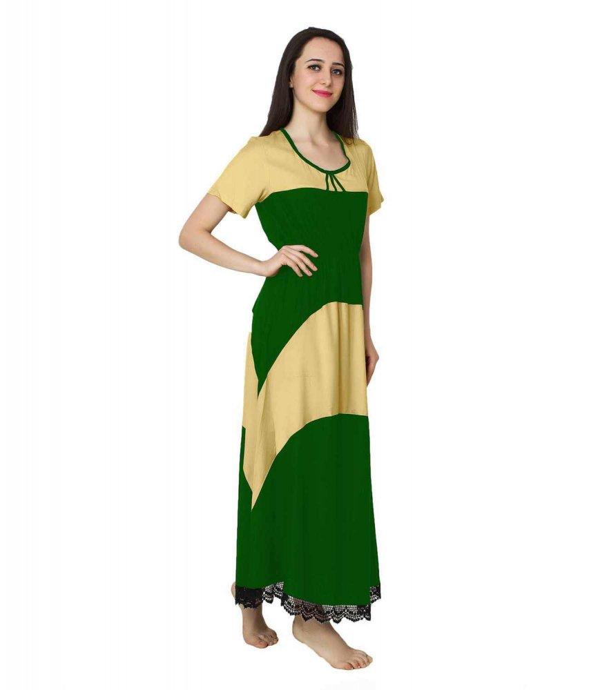 Embellished Hem Color Block Maxi Dress in Gold: Bottle Green