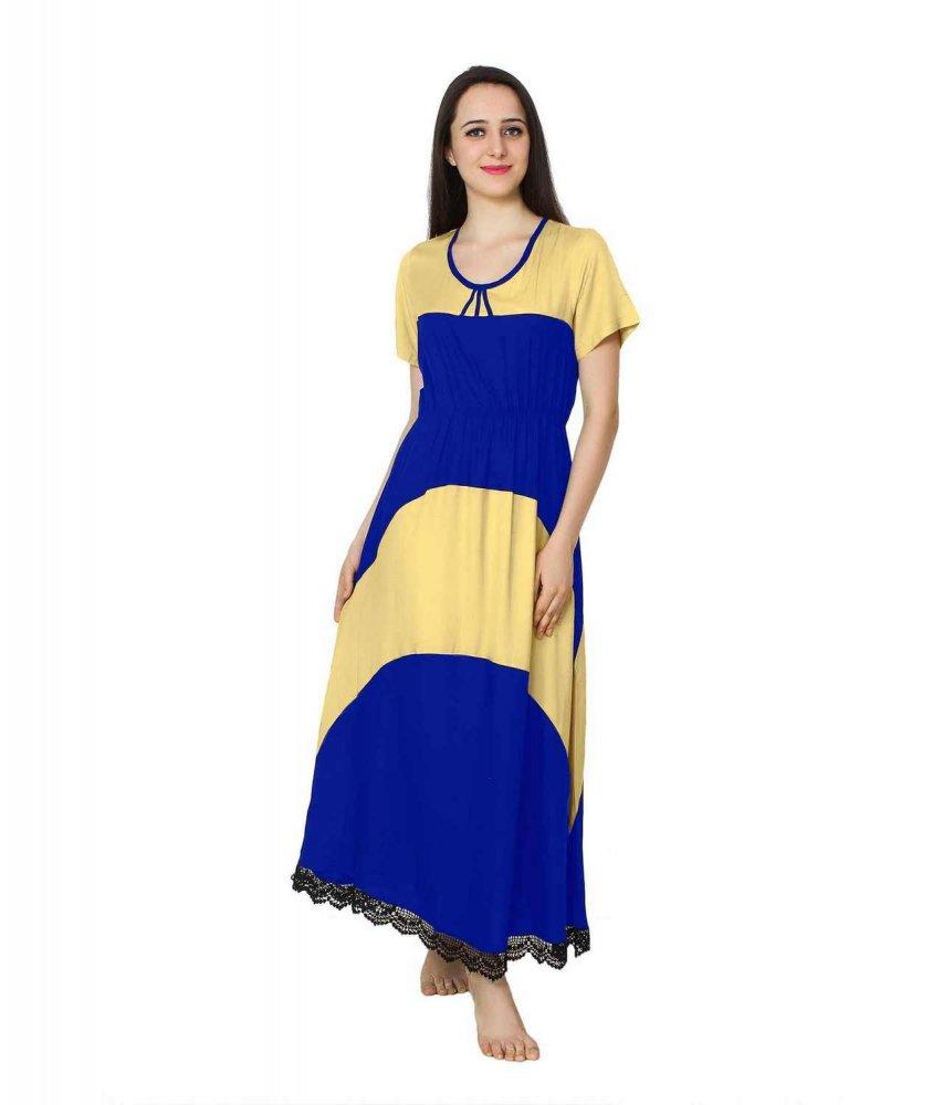 Embellished Hem Color Block Maxi Dress in Gold: Royal Blue