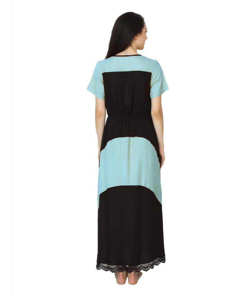 Embellished Hem Color Block Maxi Dress in Light Blue: Black