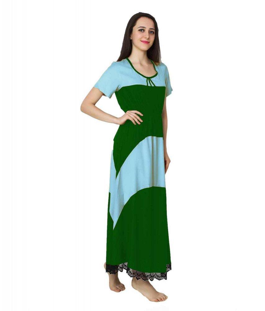 Embellished Hem Color Block Maxi Dress in Light Blue: Bottle Green