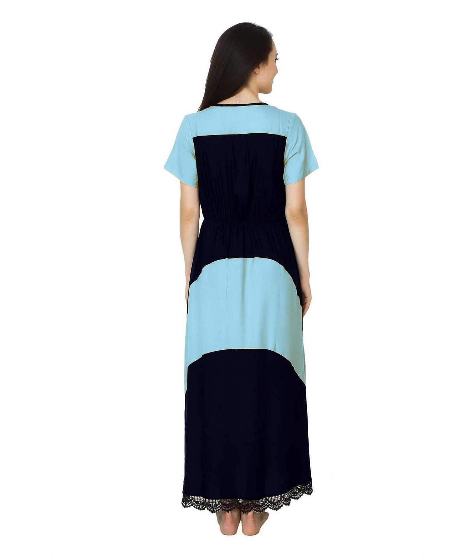 Embellished Hem Color Block Maxi Dress in Light Blue: Dark Blue