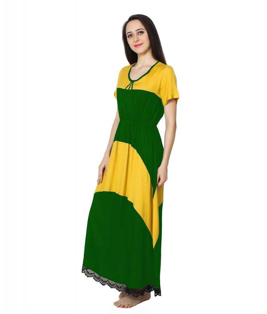 Embellished Hem Color Block Maxi Dress in Mustard: Bottle Green