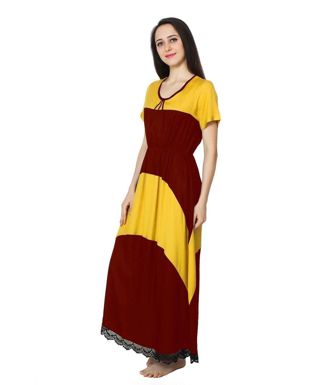 Embellished Hem Color Block Maxi Dress in Mustard: Maroon