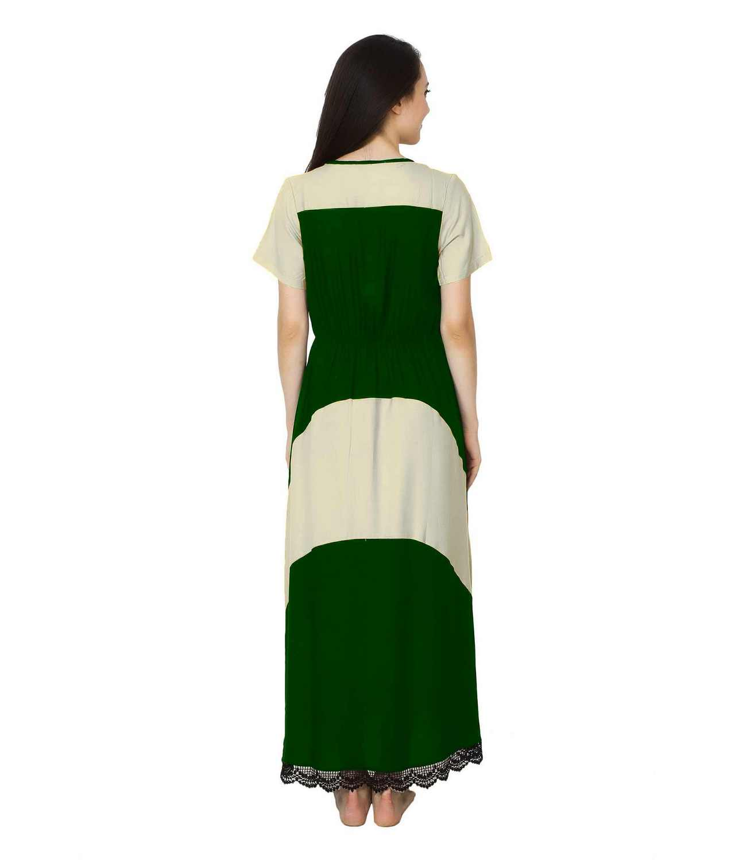 Embellished Hem Color Block Maxi Dress in Off-White: Bottle Green