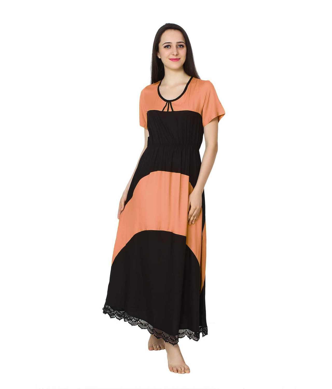 Embellished Hem Color Block Maxi Dress in Peach: Black