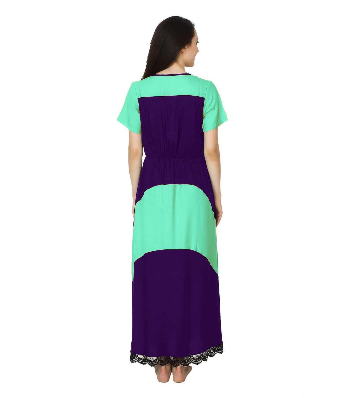 Embellished Hem Color Block Maxi Dress in Teal Green: Purple