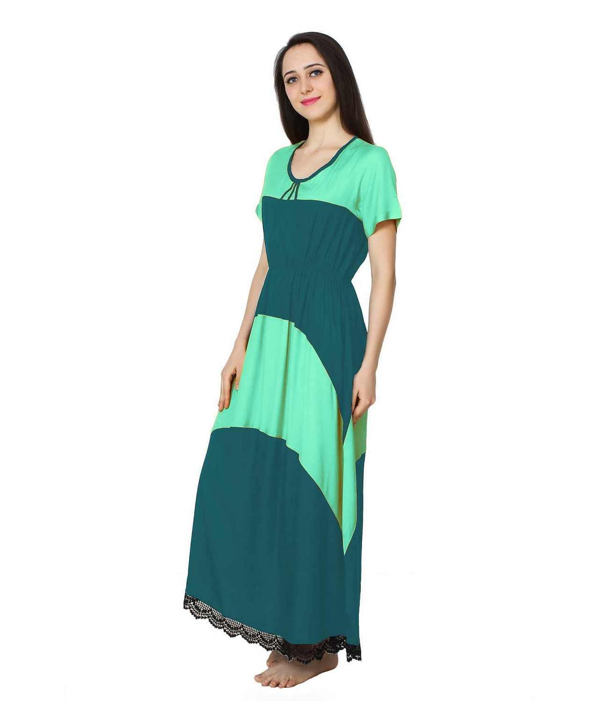 Embellished Hem Color Block Maxi Dress in Teal Green: Rama Green
