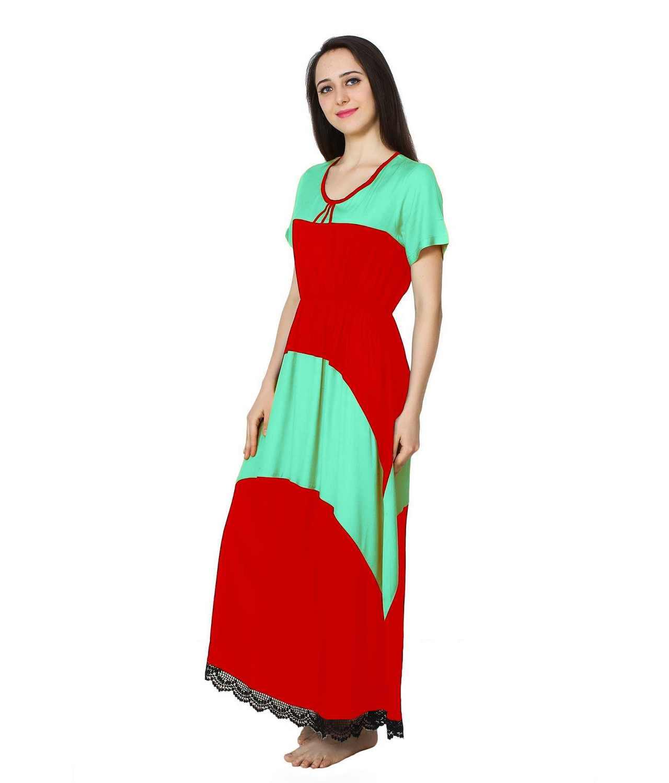Embellished Hem Color Block Maxi Dress in Teal Green: Red