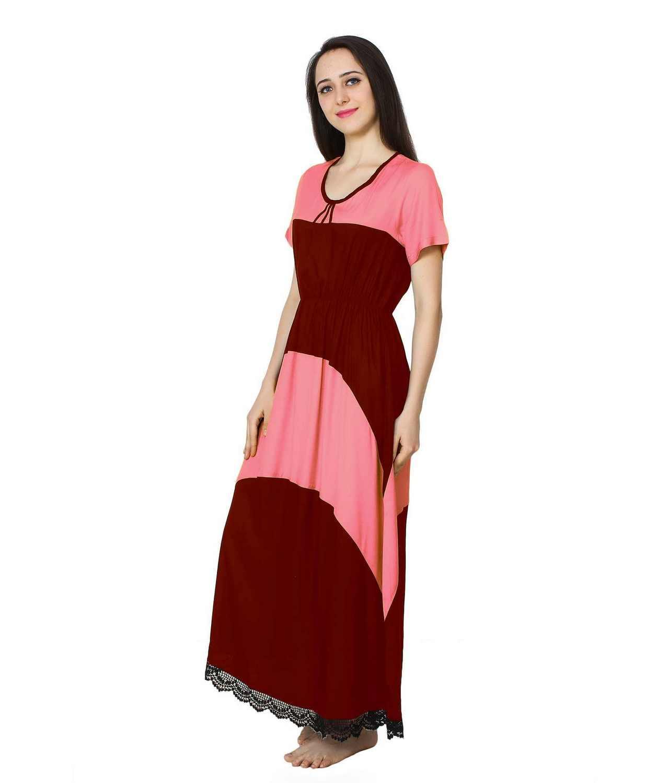 Embellished Hem Color Block Maxi Dress in Vinyl Pink: Maroon