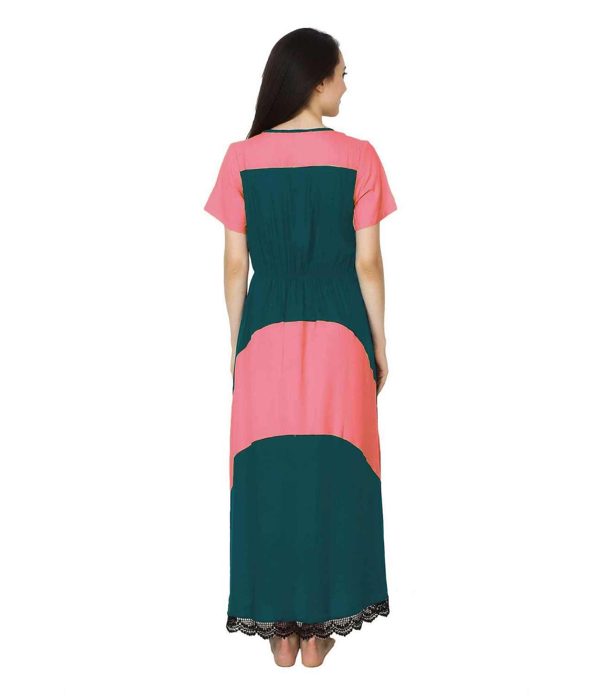 Embellished Hem Color Block Maxi Dress in Vinyl Pink: Rama Green