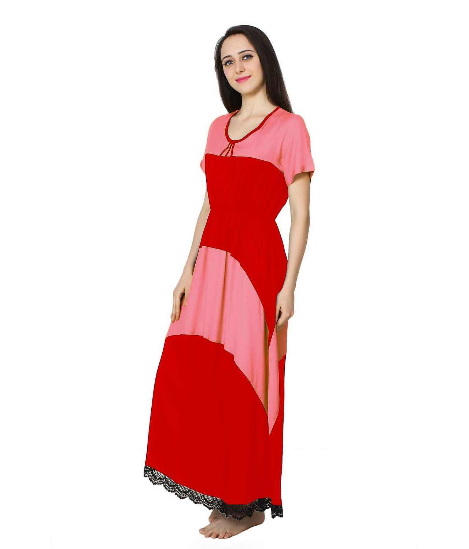 Embellished Hem Color Block Maxi Dress in Vinyl Pink: Red