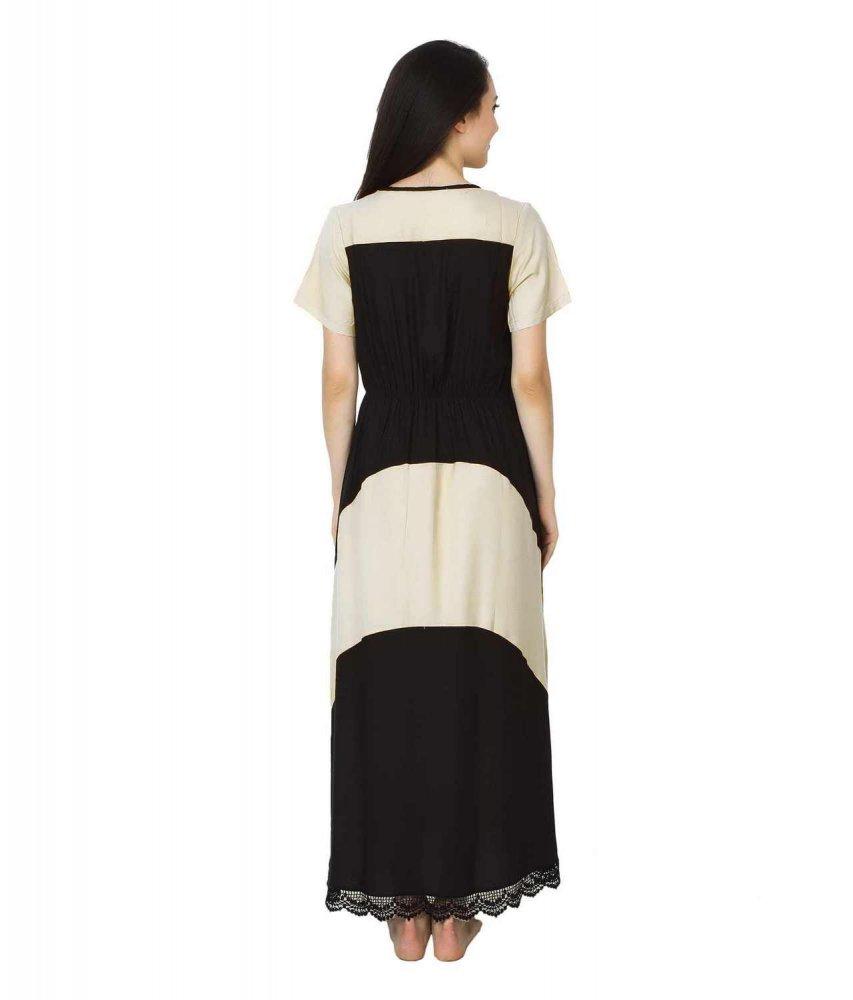 Embellished Hem Color Block Maxi Dress in White: Black
