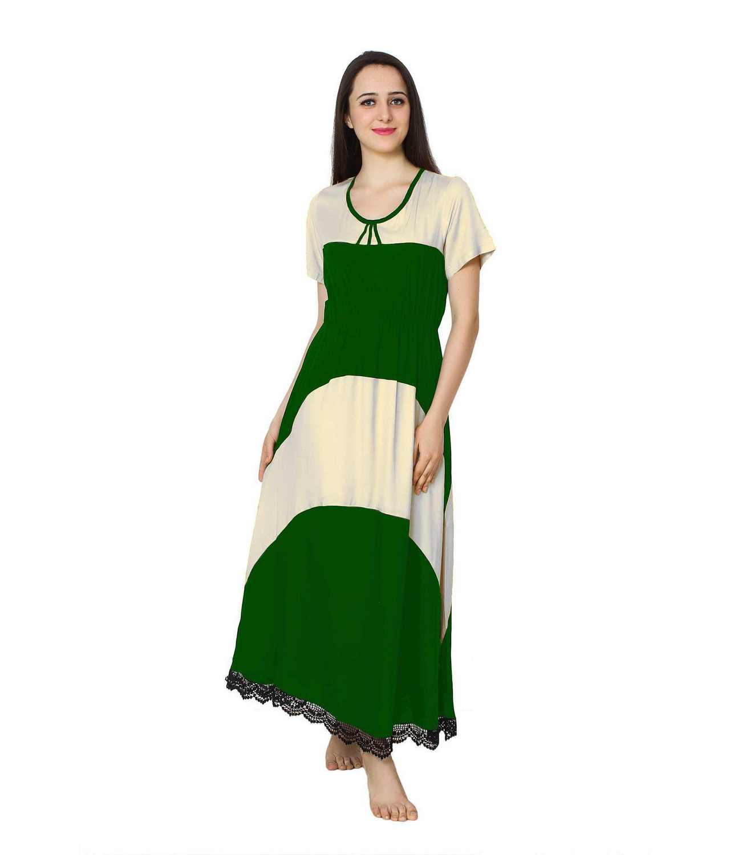 Embellished Hem Color Block Maxi Dress in White: Bottle Green