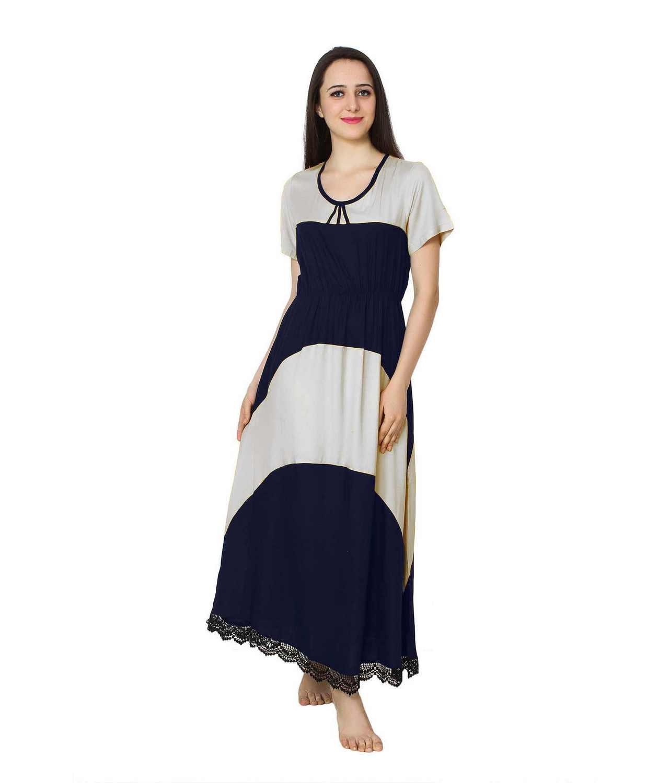 Embellished Hem Color Block Maxi Dress in White: Dark Blue