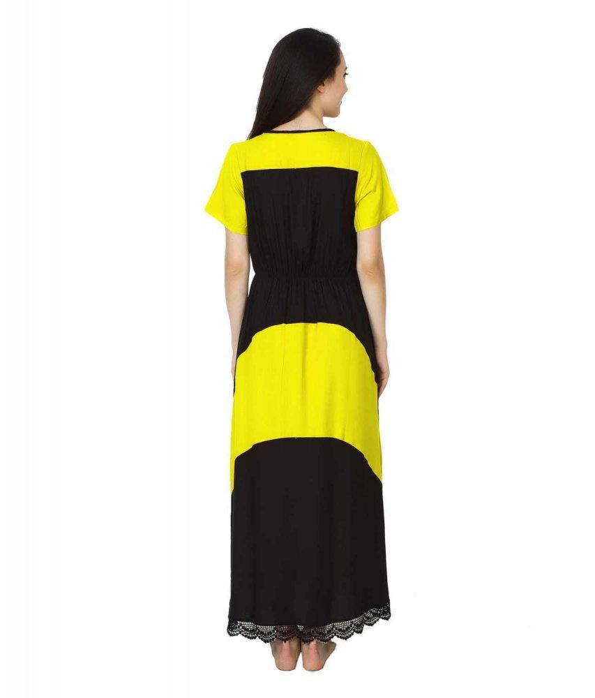Embellished Hem Color Block Maxi Dress in Yellow: Black