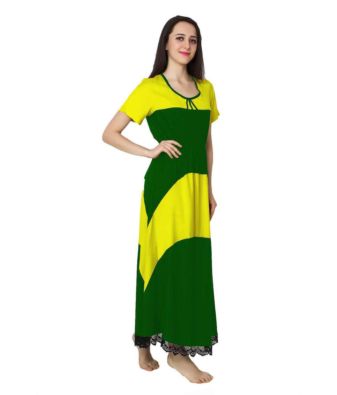 Embellished Hem Color Block Maxi Dress in Yellow: Bottle Green