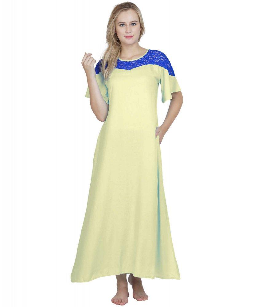 Embellished Maxi Night-Gown Nighty in Cream