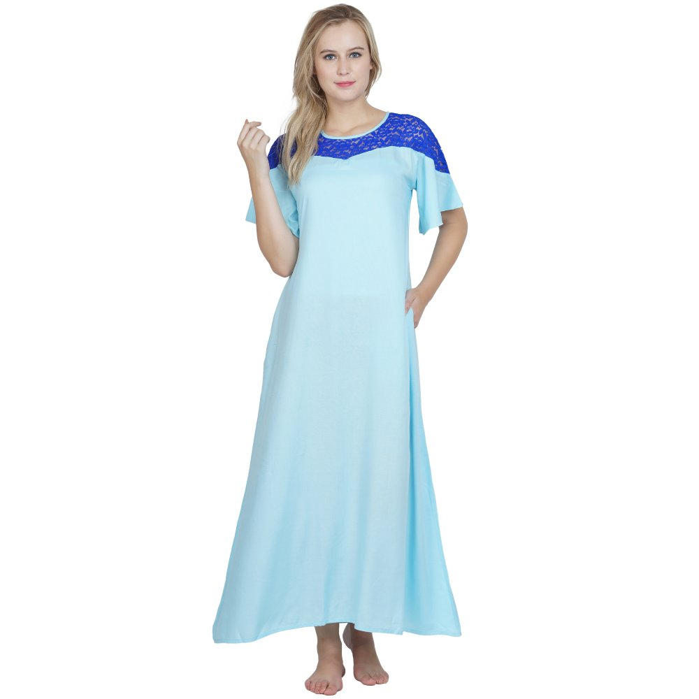 Embellished Maxi Night-Gown Nighty in Light Blue