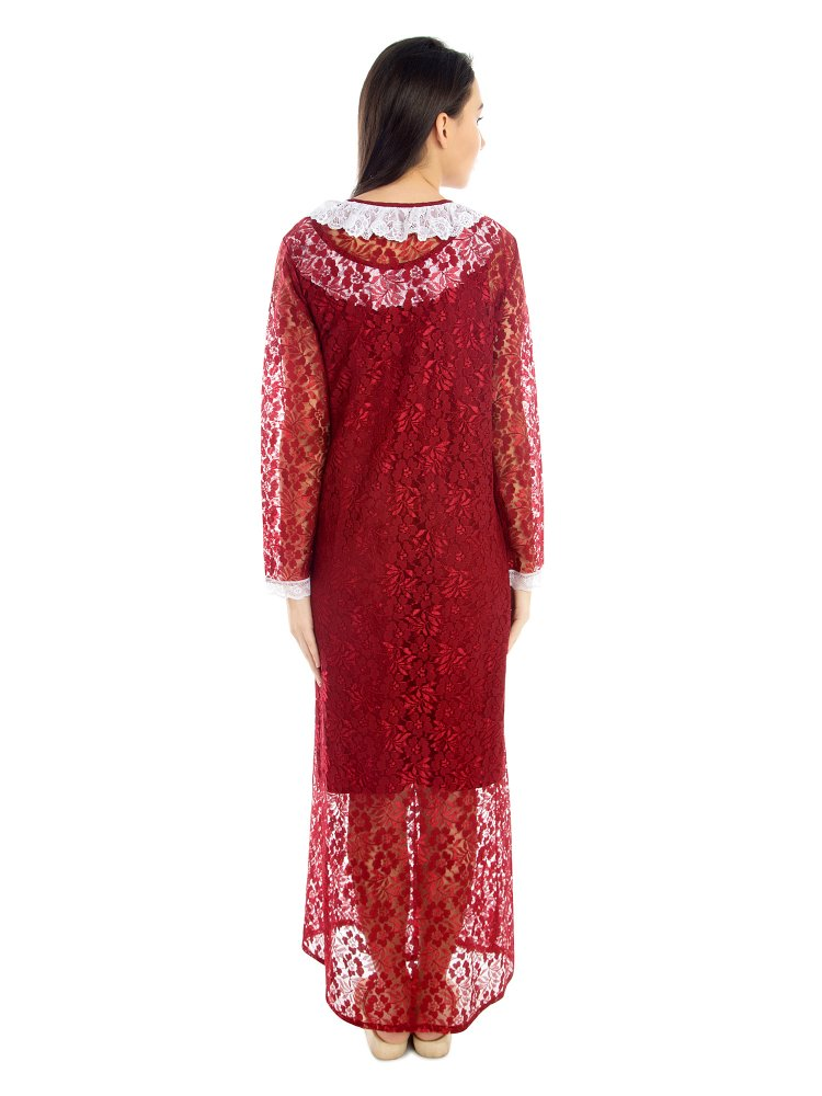 Embellished Maxi Nighty With Net Robe in Maroon