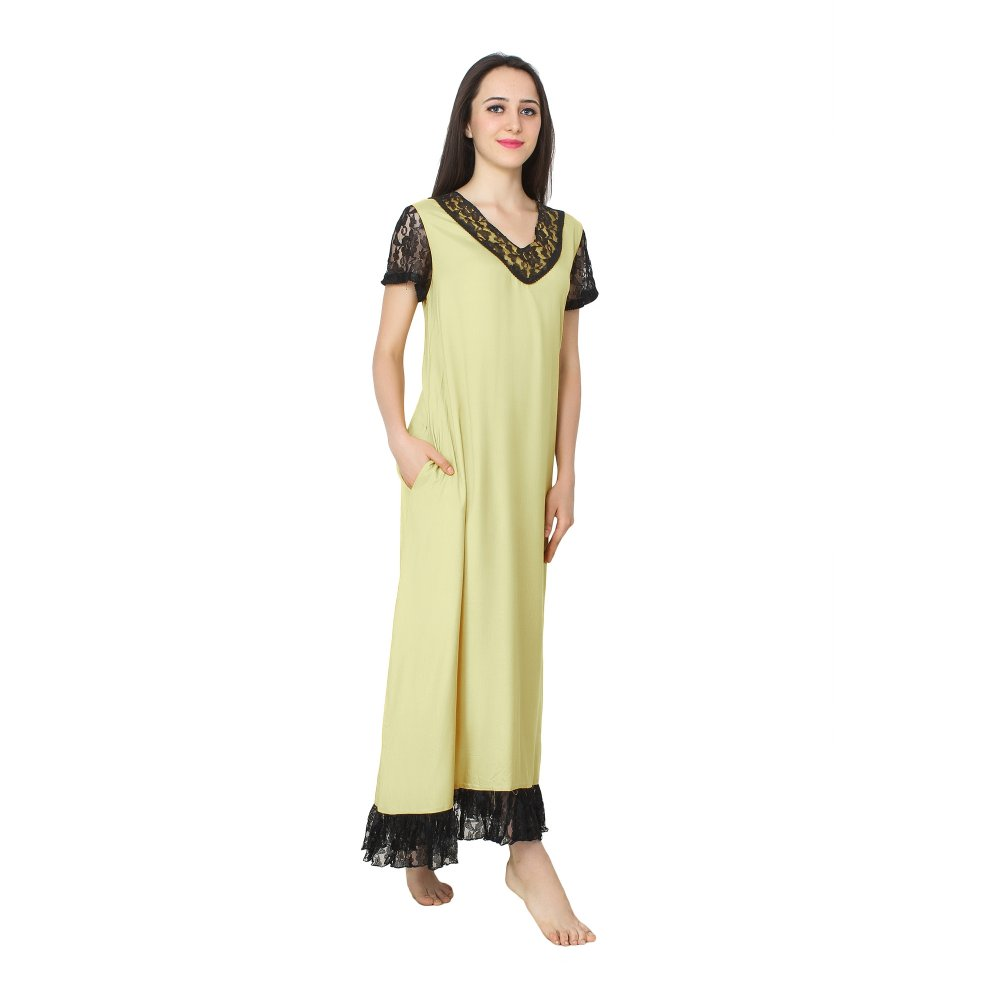 Embellished Neck and Hem Line Maxi Nighty in Cream