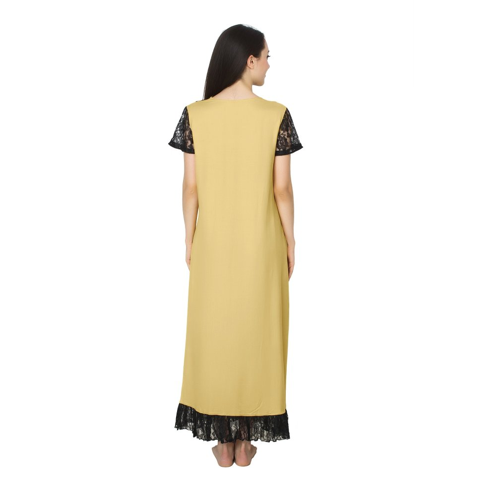 Embellished Neck and Hem Line Maxi Nighty in Gold