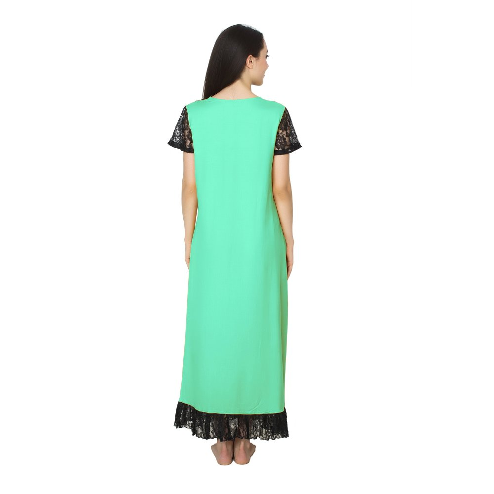Embellished Neck and Hem Line Maxi Nighty in Teal Green