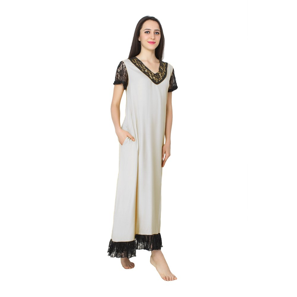 Embellished Neck and Hem Line Maxi Nighty in White