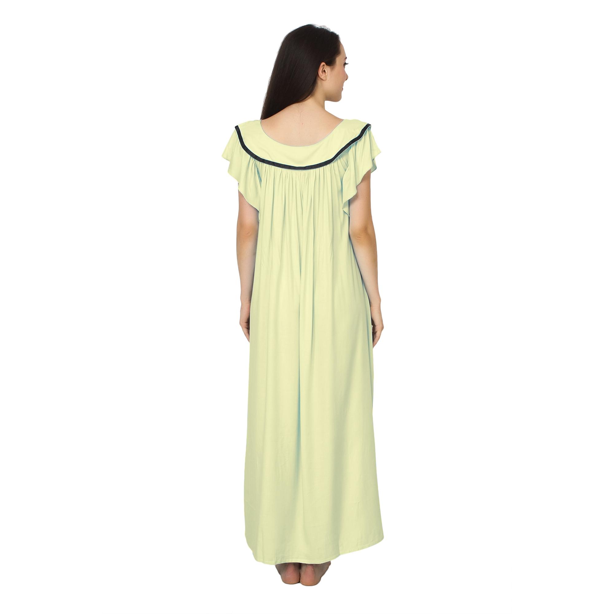Embellished Neck Raglan Sleeve Maxi Night-Gown Nighty in Cream