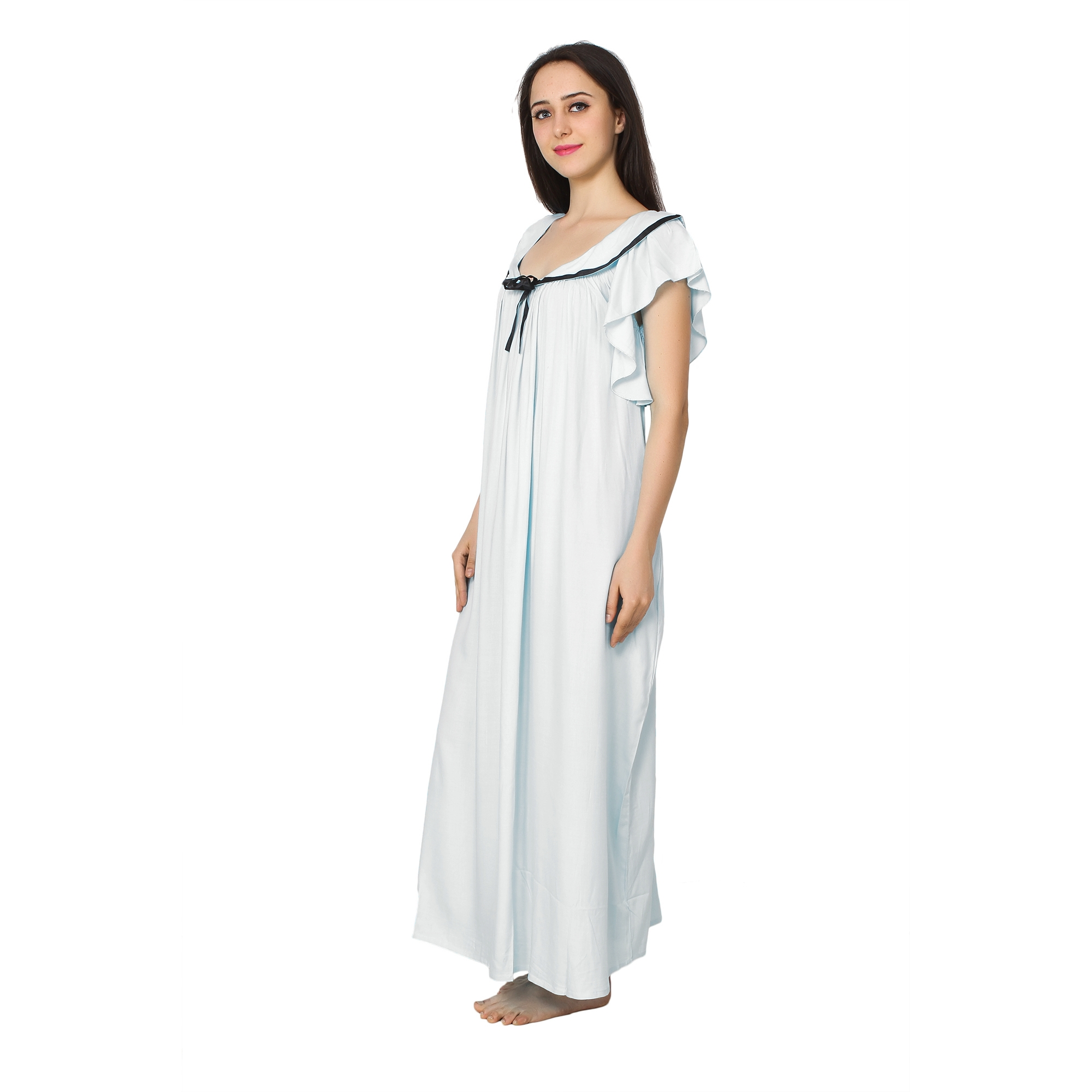 Embellished Neck Raglan Sleeve Maxi Night-Gown Nighty in White