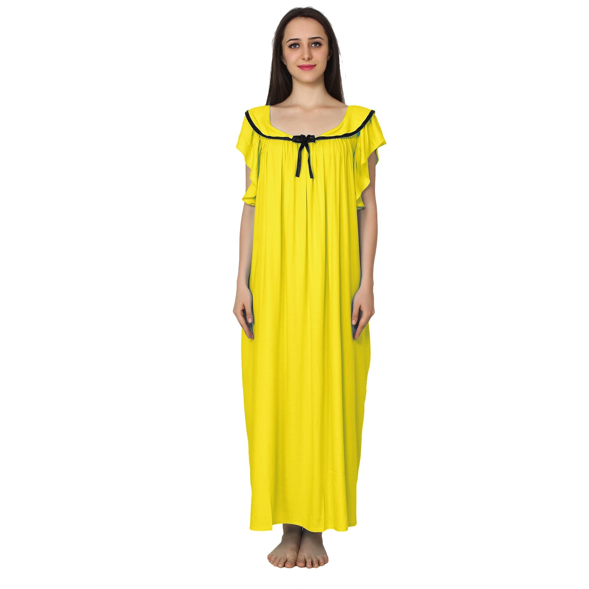 Embellished Neck Raglan Sleeve Maxi Night-Gown Nighty in Yellow