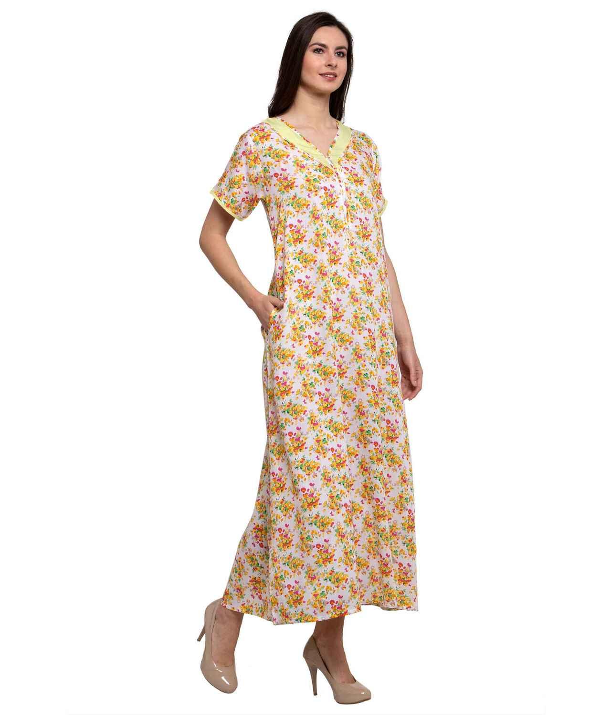 Embellished Neckline With Zip Maxi Nighty in Cream:Yellow Print
