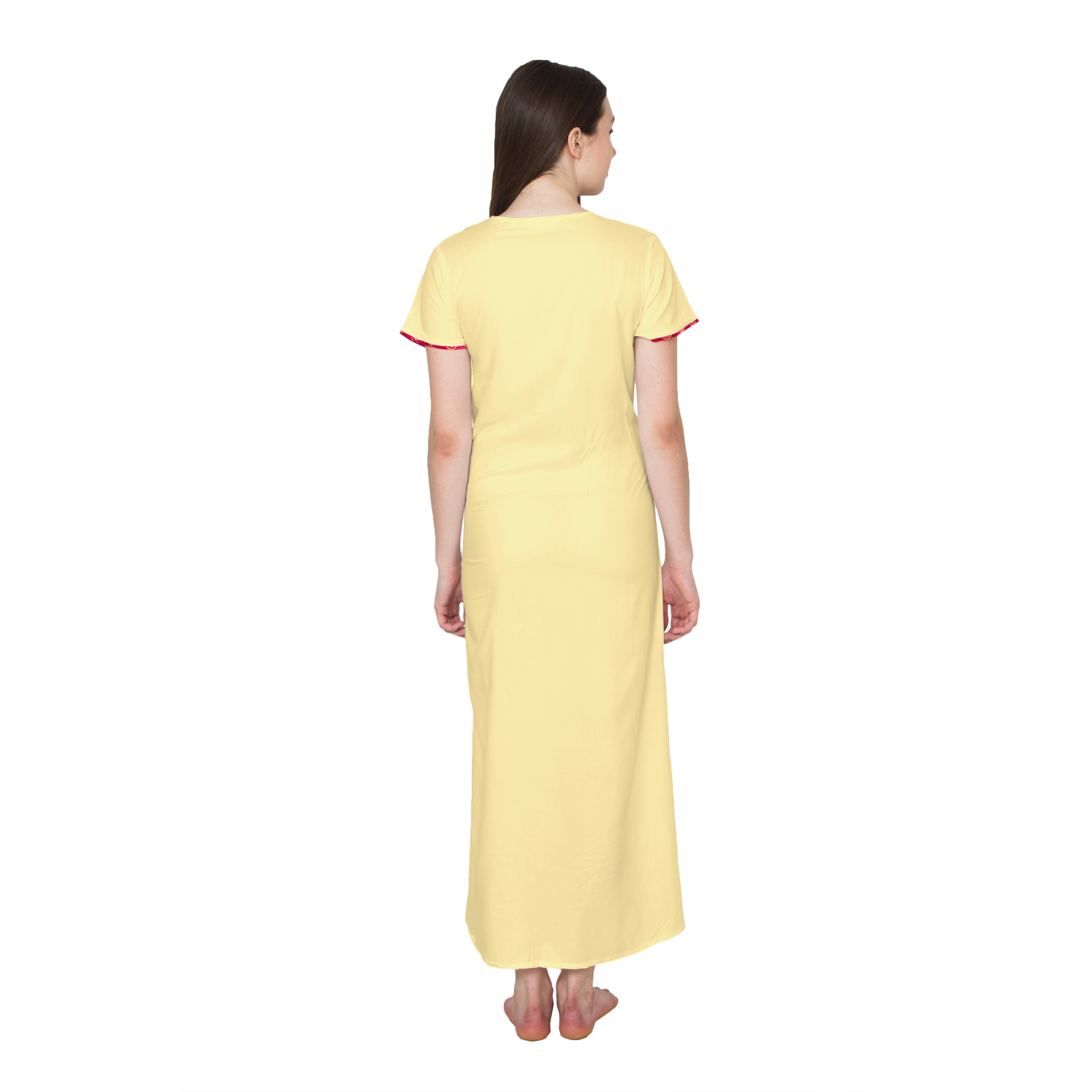 Embellished Neckline With Zip Maxi Nighty in Gold