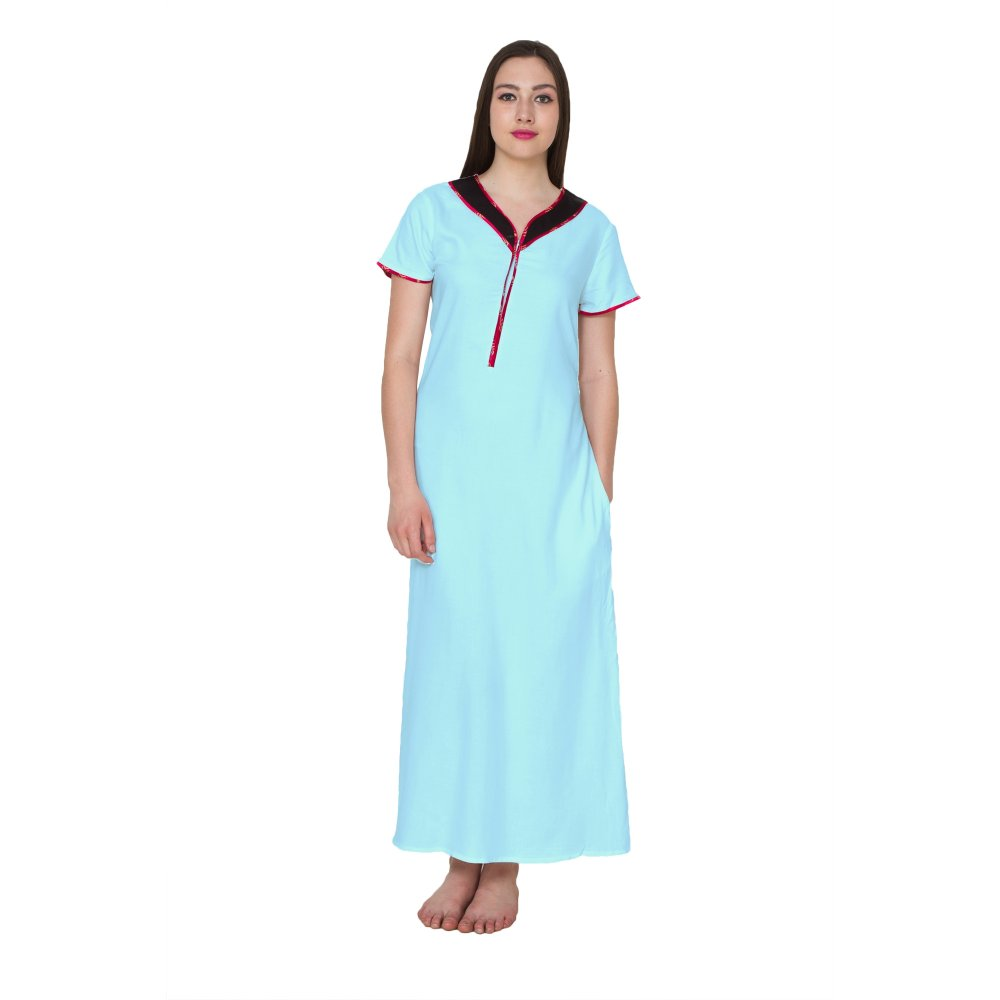 Embellished Neckline With Zip Maxi Nighty in Light Blue
