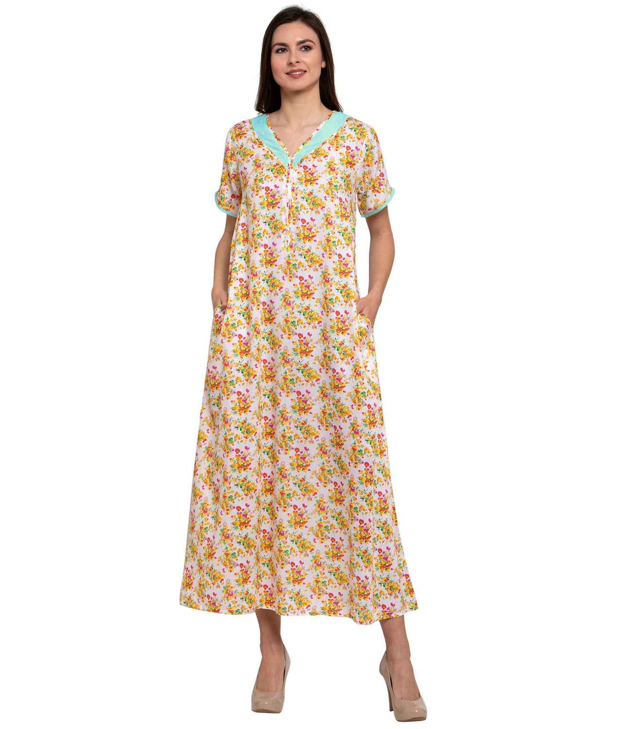 Embellished Neckline With Zip Maxi Nighty in Light Blue:Yellow Print