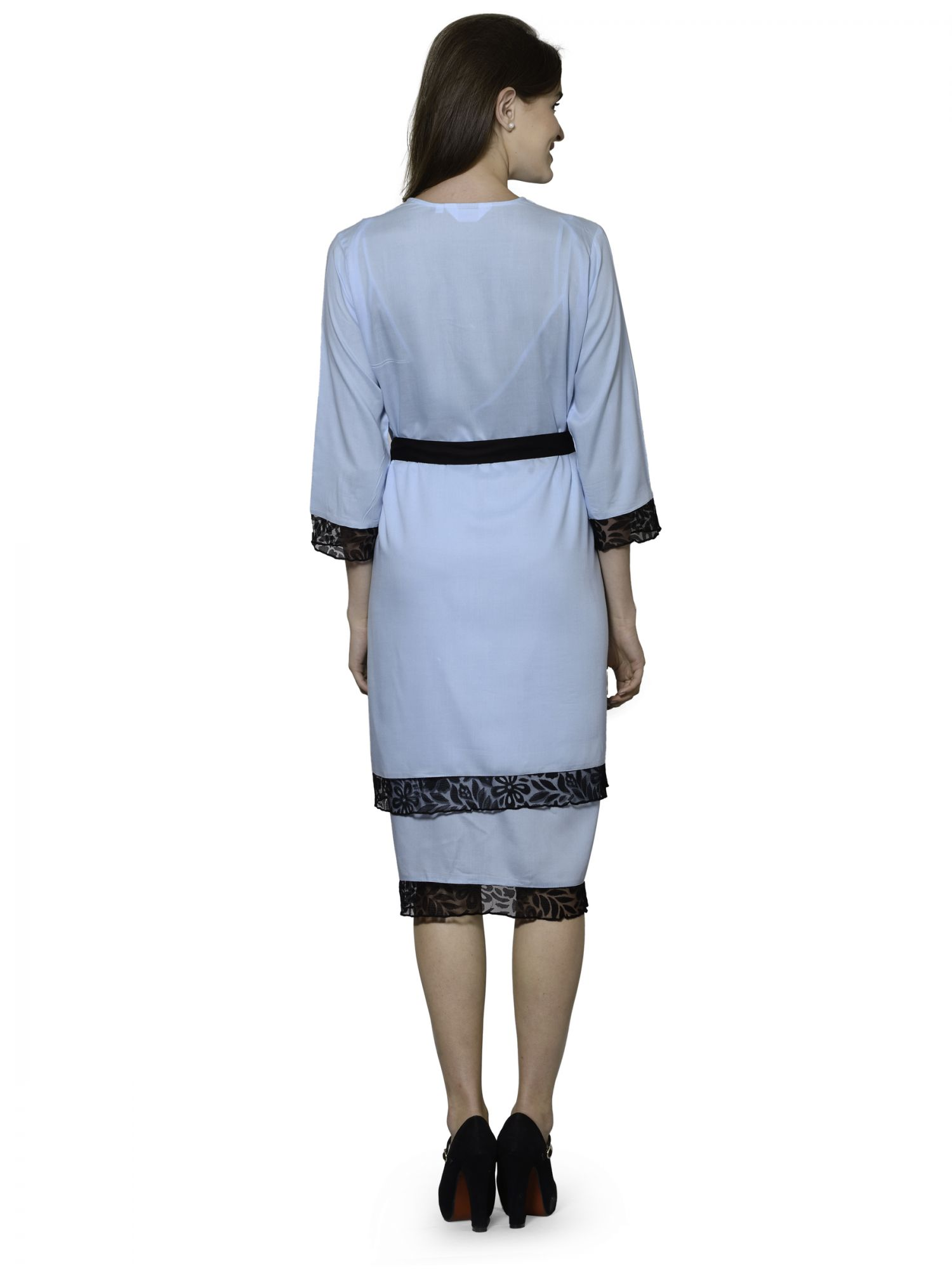 Embellished Night Midi Nighty with Robe in Light Blue