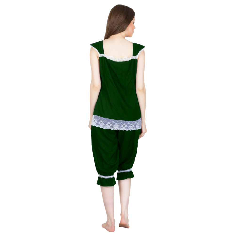 Embellished Night Top and Capri Set in Bottle Green