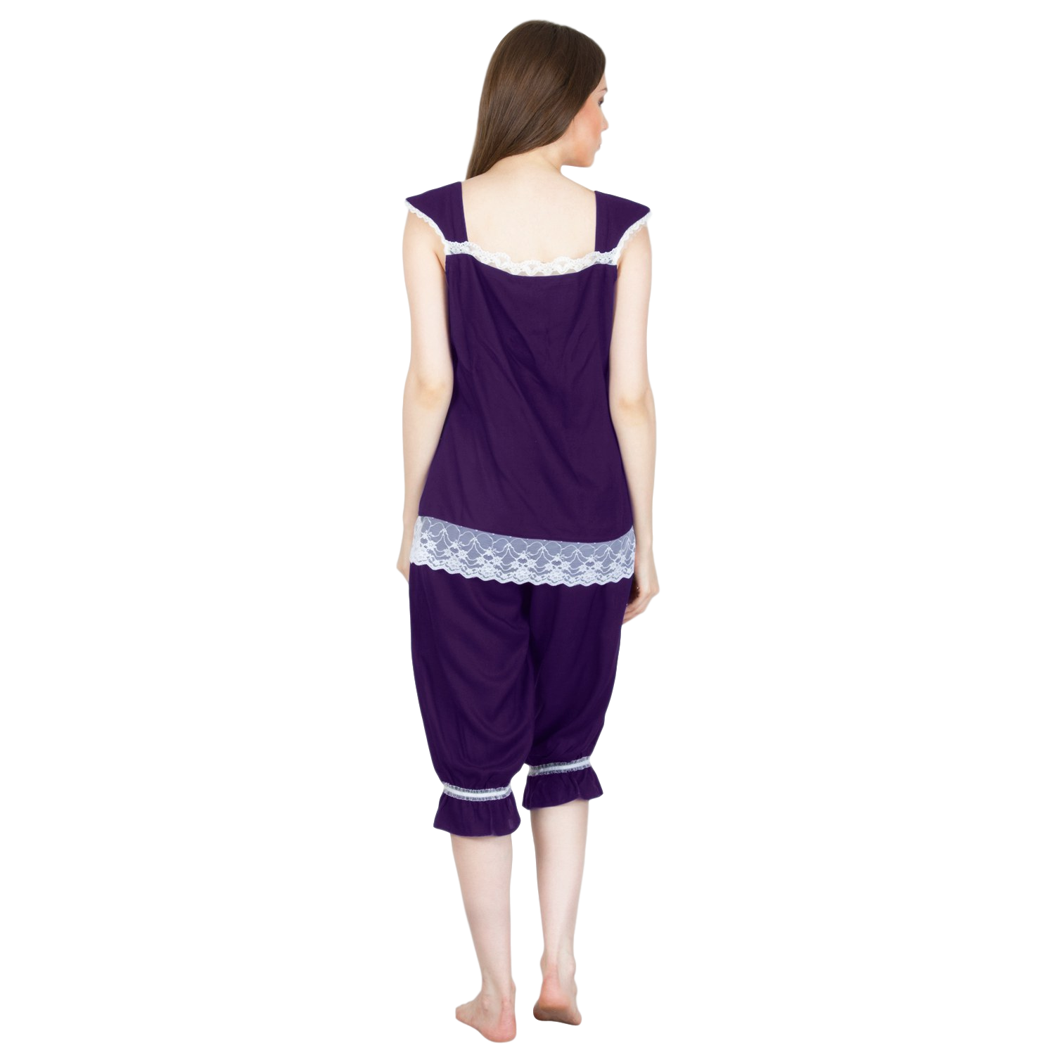 Embellished Night Top and Capri Set in Purple