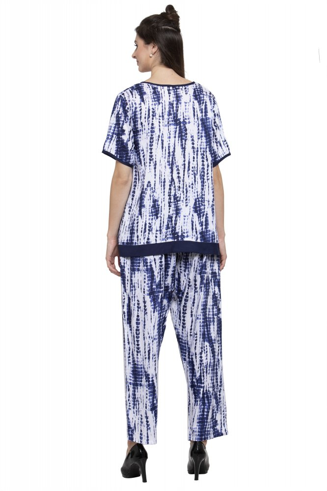 Embellished Printed Night Top and Pyjama Set in Blue