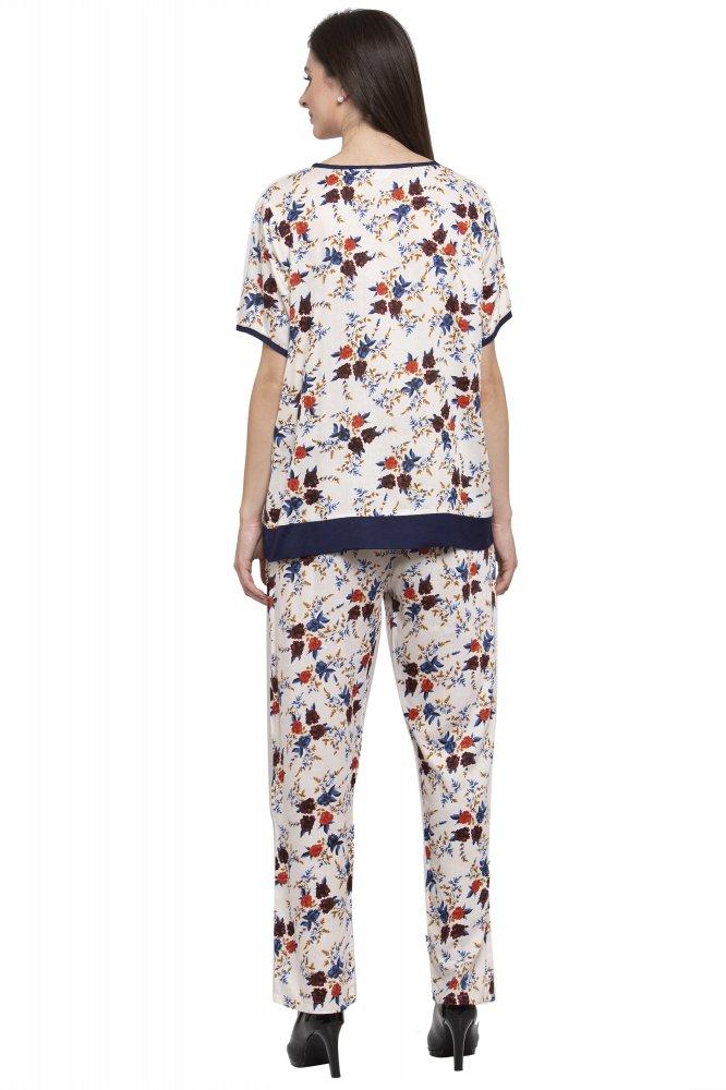Embellished Printed Night Top and Pyjama Set in Cream