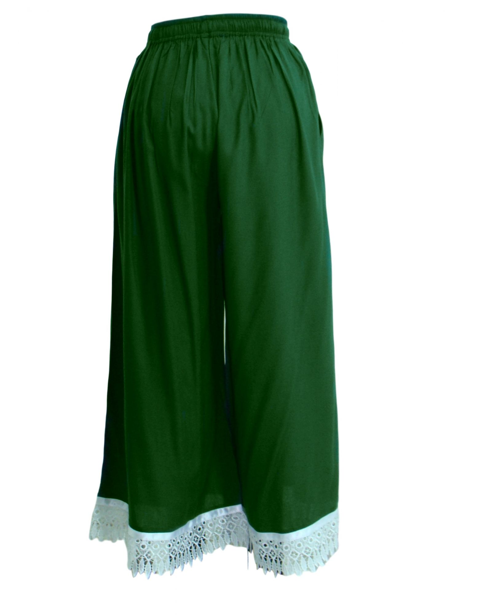 Embellished Regular Fit Palazzo Pant in Bottle Green
