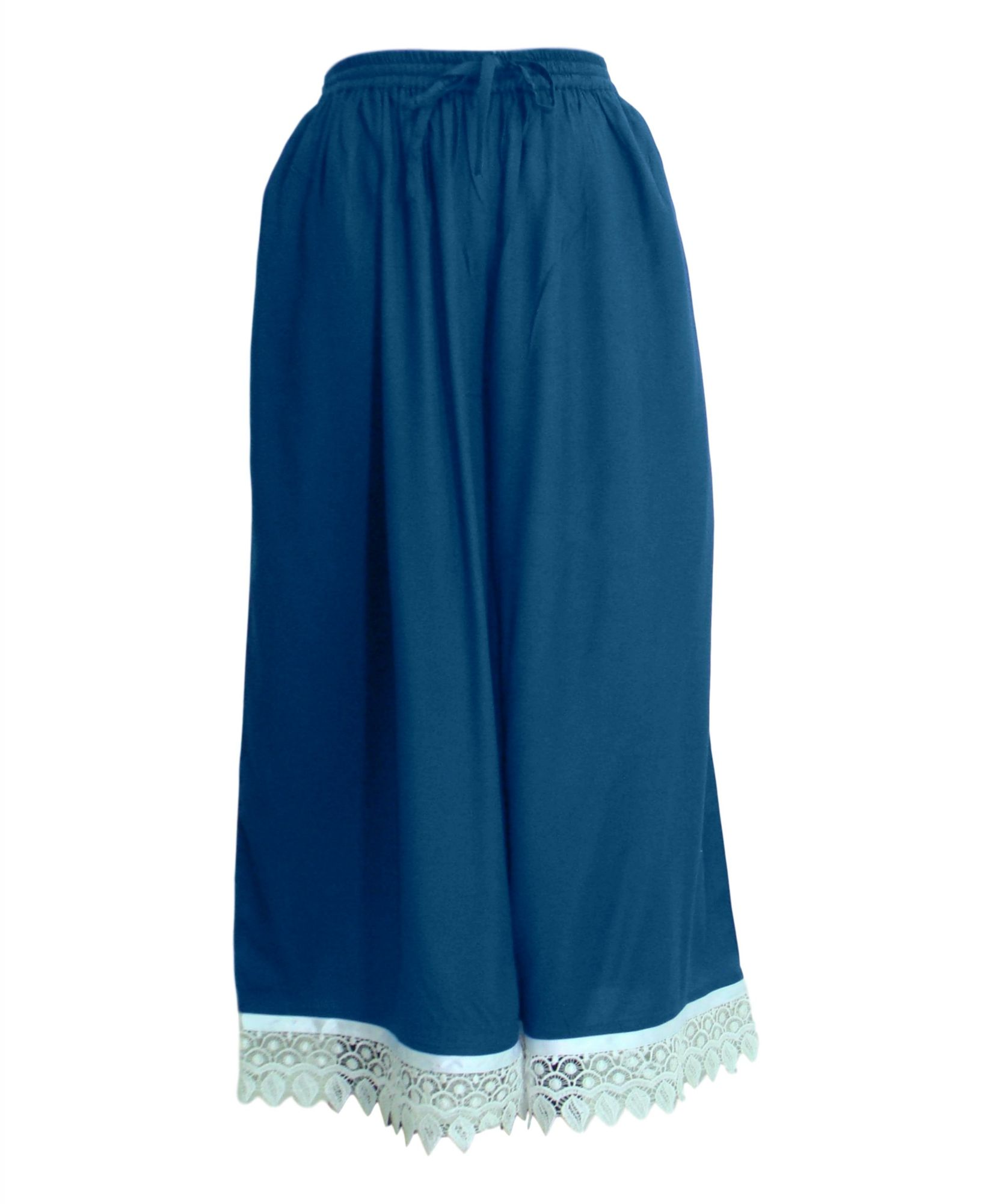 Embellished Regular Fit Palazzo Pant in Sky Blue