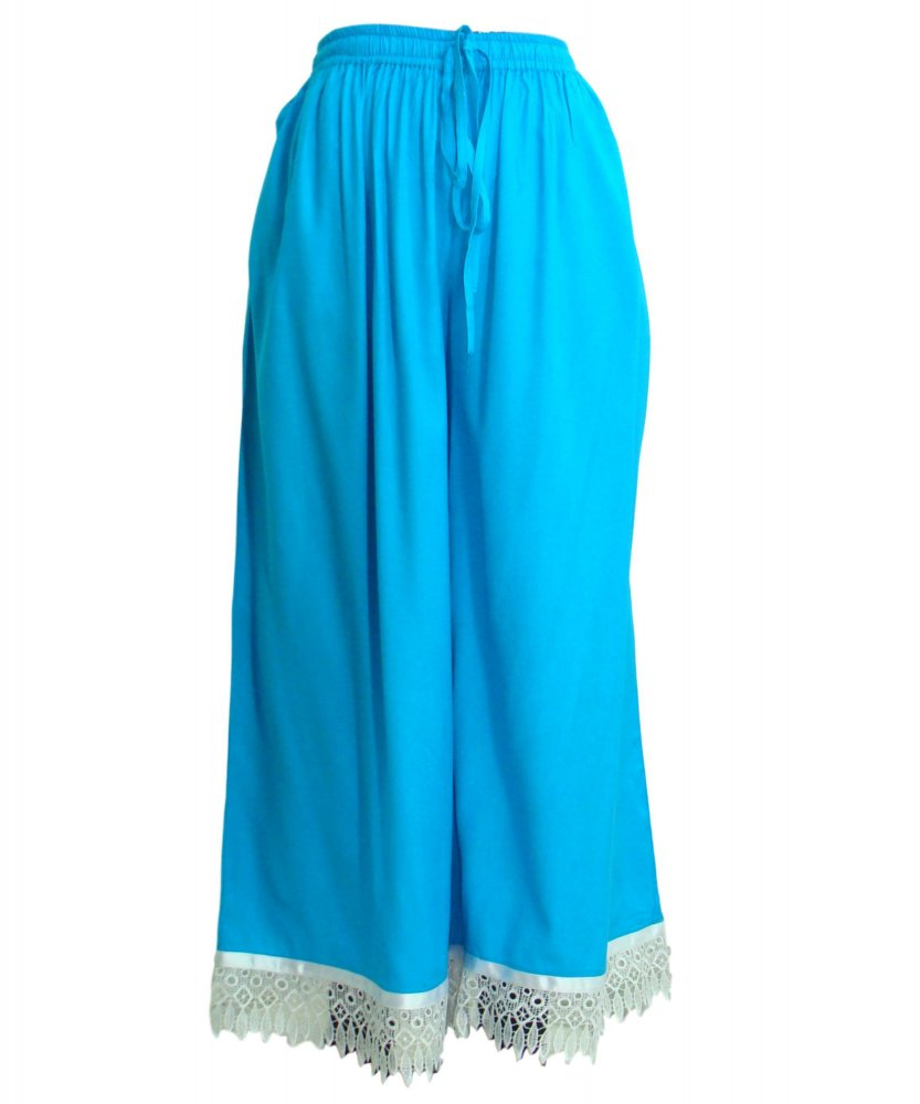 Embellished Regular Fit Palazzo Pant in Turquoise Blue