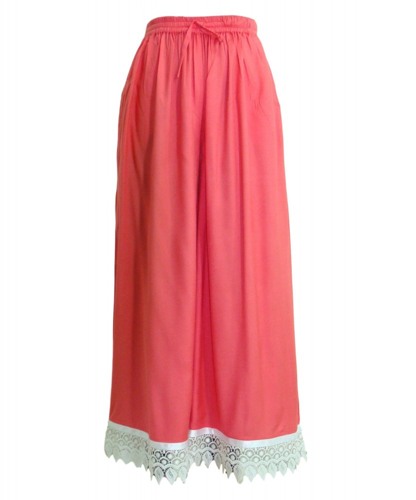 Embellished Regular Fit Palazzo Pant in Vinyl Hot Pink