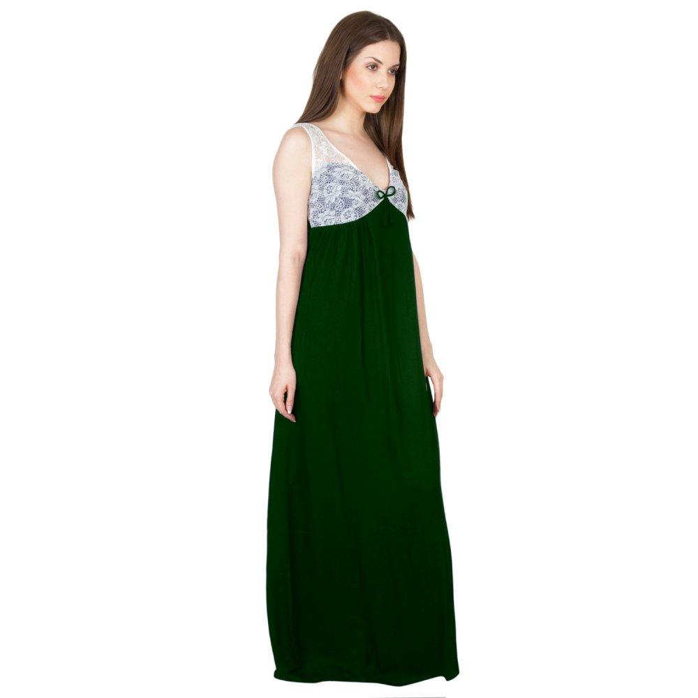 Embellished Sheath Maxi Dress Gown in Bottle Green