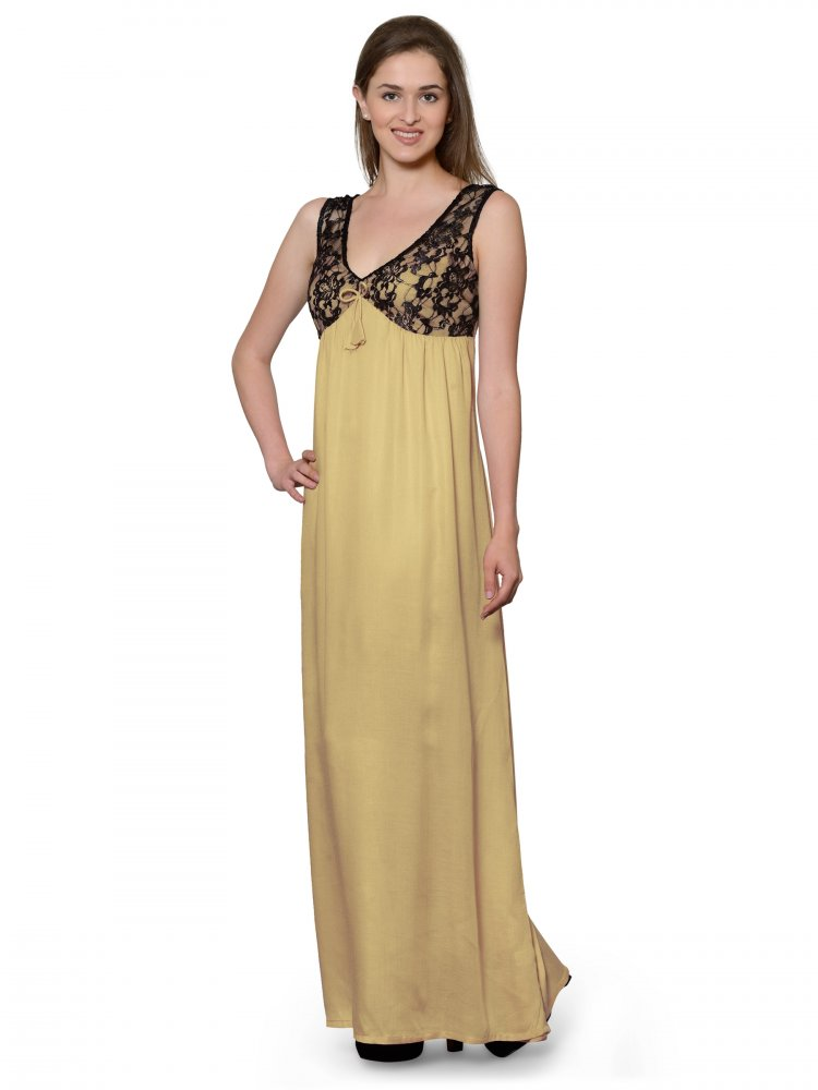 Embellished Sheath Maxi Dress Gown in Gold