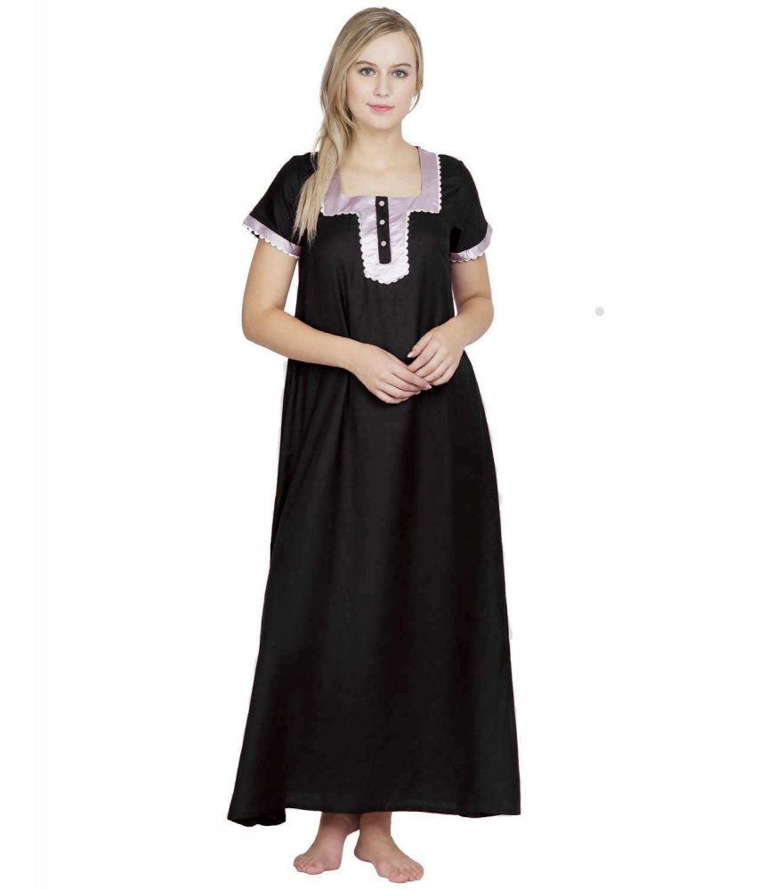Embellished Square Neck Maxi Night-Gown Nighty in Black