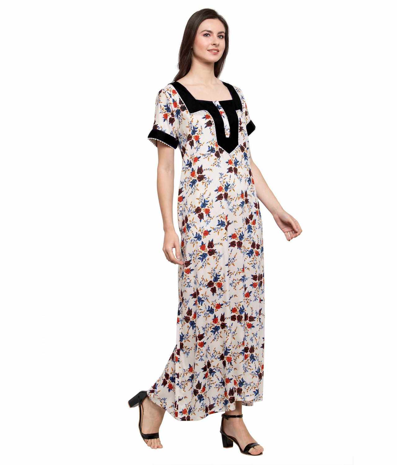 Embellished Square Neck Maxi Night-Gown Nighty in Black:Cream Print